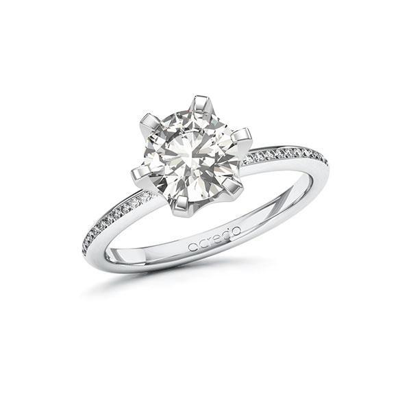 Verlobungsring Diamantring 1,63 ct. G VS & tw, si Weißgold 585