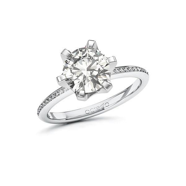 Verlobungsring Diamantring 2,13 ct. G VS & tw, si Weißgold 585