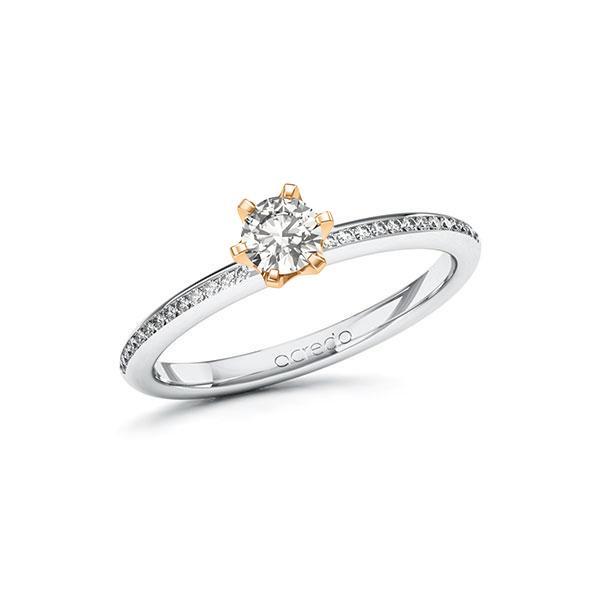 Verlobungsring Diamantring 0,43ct. G VS & tw, si Weißgold 585 Roségold 585