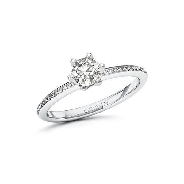 Verlobungsring Diamantring 0,63 ct. G VS & tw, si Weißgold 585