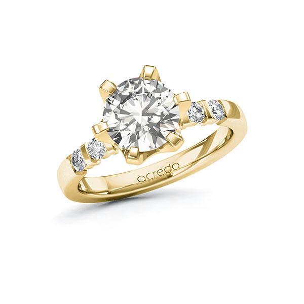 Verlobungsring Diamantring 2,3 ct. G SI & tw, si Gelbgold 585