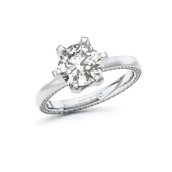 Verlobungsring Diamantring 2,29 ct. G VS & tw, si Weißgold 585