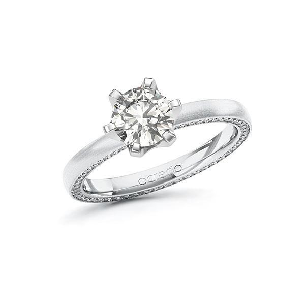 Verlobungsring Diamantring 1,29 ct. G VS & tw, si Weißgold 585