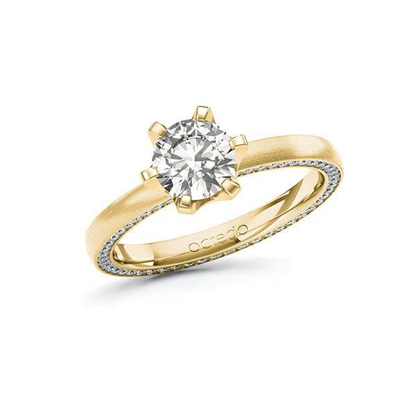Verlobungsring Diamantring 1,29 ct. G VS & tw, si Gelbgold 585
