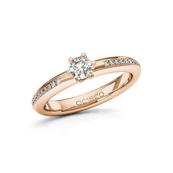 Verlobungsring Diamantring 0,39 ct. G SI & tw, si Rotgold 585