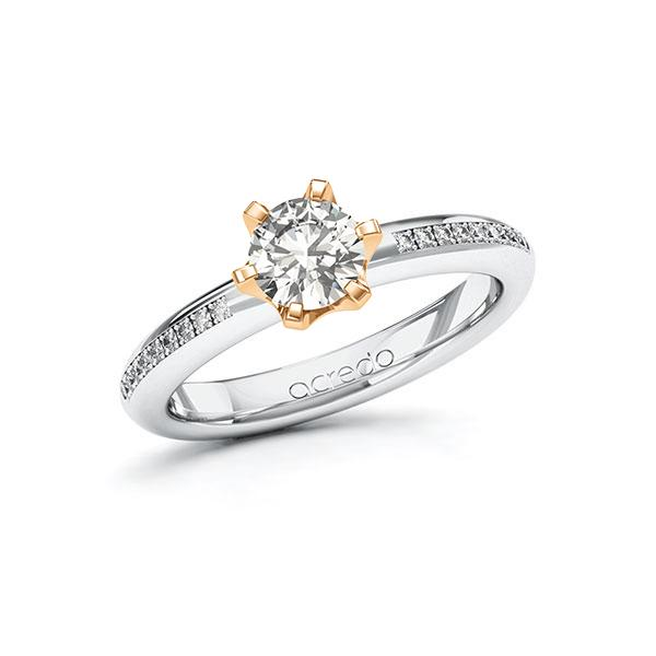 Verlobungsring Diamantring 0,79ct. G VS & tw, si Weißgold 585 Roségold 585