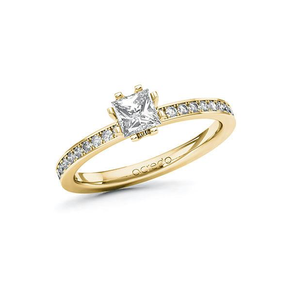 Verlobungsring Diamantring 0,7 ct. G VS & tw, si Gelbgold 585