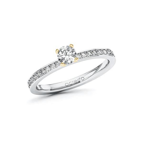 Verlobungsring Diamantring 0,5ct. G VS & tw, si Weißgold 585 Gelbgold 585