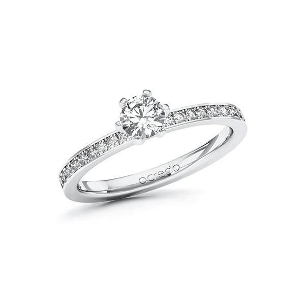 Verlobungsring Diamantring 0,6 ct. G VS & tw, si Weißgold 585
