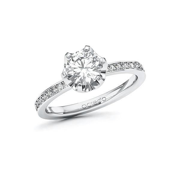 Verlobungsring Diamantring 1,2 ct. G VS & tw, si Weißgold 585