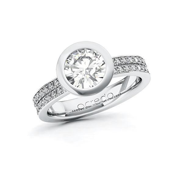 Verlobungsring Diamantring 1,86 ct. G VS & tw, si Weißgold 585