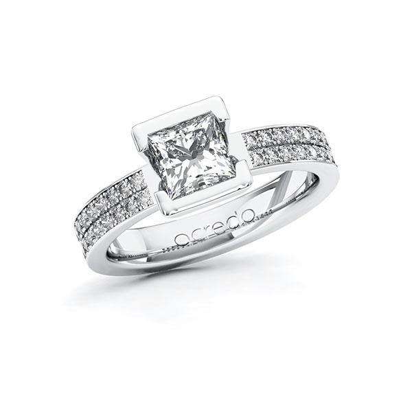 Verlobungsring Diamantring 1,36 ct. G VS & tw, si Weißgold 585