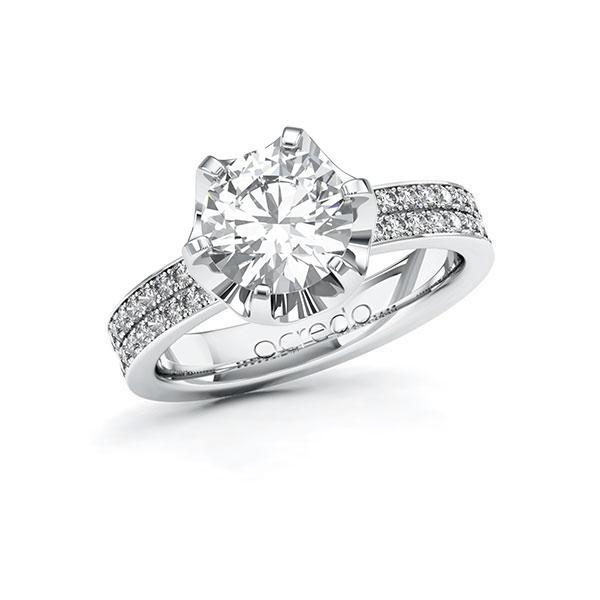 Verlobungsring Diamantring 2,36 ct. G VS & tw, si Weißgold 585
