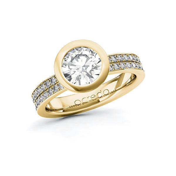 Verlobungsring Diamantring 1,86 ct. G VS & tw, si Gelbgold 585