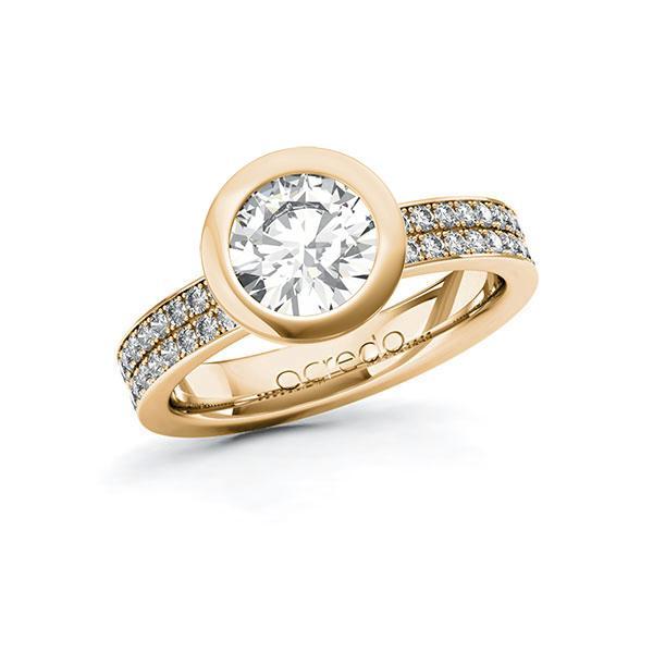 Verlobungsring Diamantring 1,86 ct. G VS & tw, si Roségold 585
