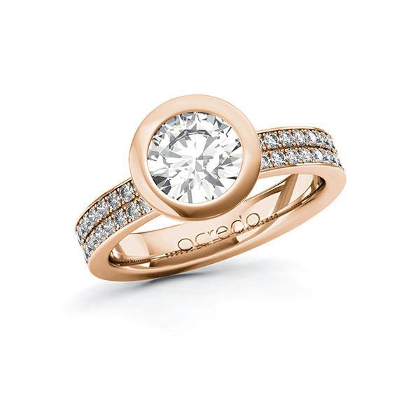 Verlobungsring Diamantring 1,86 ct. G VS & tw, si Rotgold 585