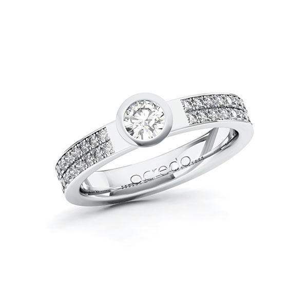 Verlobungsring Diamantring 0,66 ct. G SI & tw, si Weißgold 585