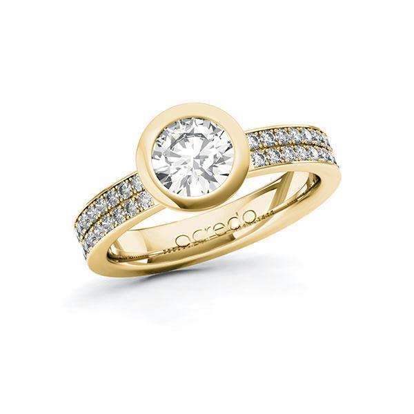 Verlobungsring Diamantring 1,36 ct. G VS & tw, si Gelbgold 585