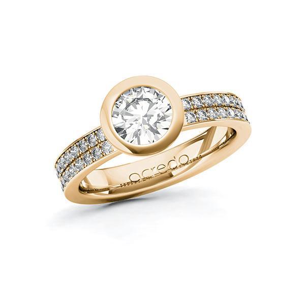 Verlobungsring Diamantring 1,36 ct. G VS & tw, si Roségold 585