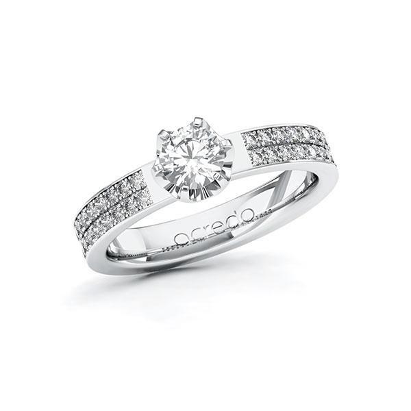 Verlobungsring Diamantring 0,86 ct. G SI & tw, si Weißgold 585