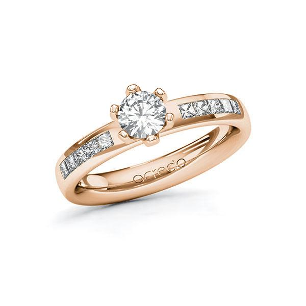 Verlobungsring Diamantring 0,8 ct. G SI & tw, si Rotgold 585