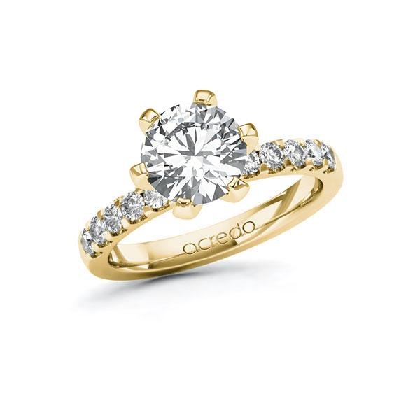 Verlobungsring Diamantring 2,3 ct. G VS & tw, si Gelbgold 585