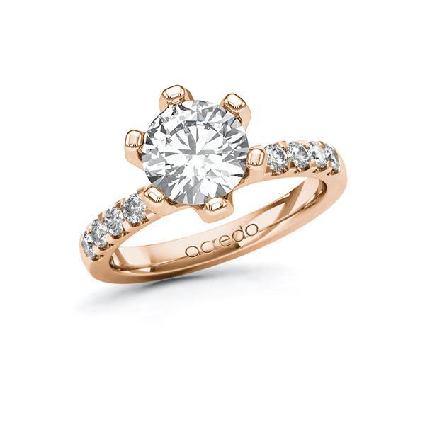 Verlobungsring Diamantring 2,3 ct. G VS & tw, si Rotgold 585