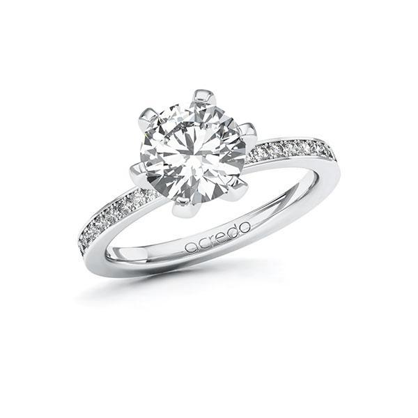 Verlobungsring Diamantring 2,2 ct. G VS & tw, si Weißgold 585