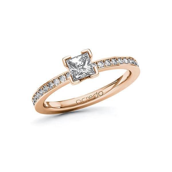 Verlobungsring Diamantring 0,7 ct. G VS & tw, si Rotgold 585