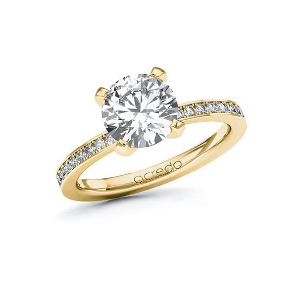 Verlobungsring Diamantring 2,2 ct. G SI & tw, si Gelbgold 585
