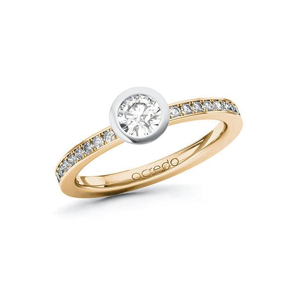 Verlobungsring Diamantring 0,6ct. G SI & tw, si Roségold 585 Weißgold 585