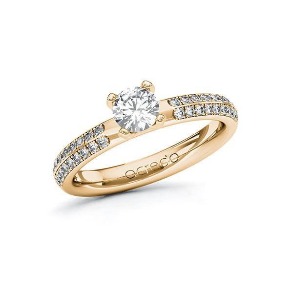 Verlobungsring Diamantring 0,788 ct. G SI & tw, si Roségold 585