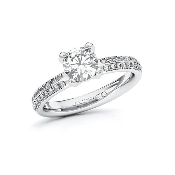 Verlobungsring Diamantring 1,288 ct. G VS & tw, si Weißgold 585