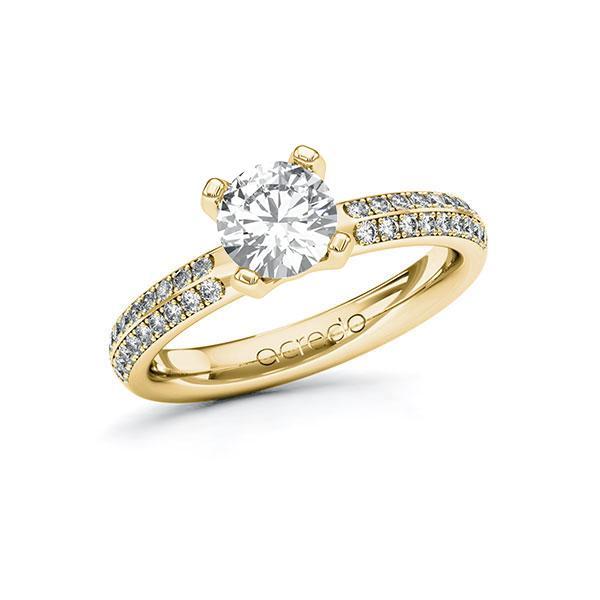 Verlobungsring Diamantring 1,288 ct. G VS & tw, si Gelbgold 585