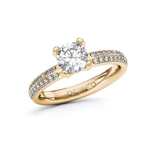 Verlobungsring Diamantring 1,288 ct. G VS & tw, si Roségold 585