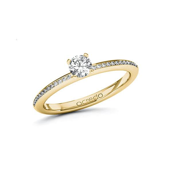 Verlobungsring Diamantring 0,43 ct. G VS & tw, si Gelbgold 585