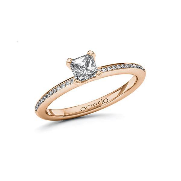 Verlobungsring Diamantring 0,63 ct. G VS & tw, si Rotgold 585