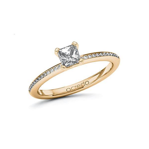 Verlobungsring Diamantring 0,63 ct. G VS & tw, si Roségold 585