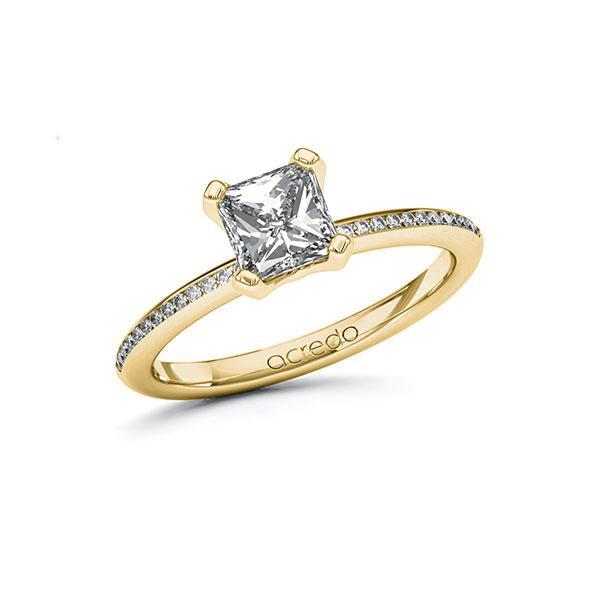 Verlobungsring Diamantring 1,13 ct. G VS & tw, si Gelbgold 585