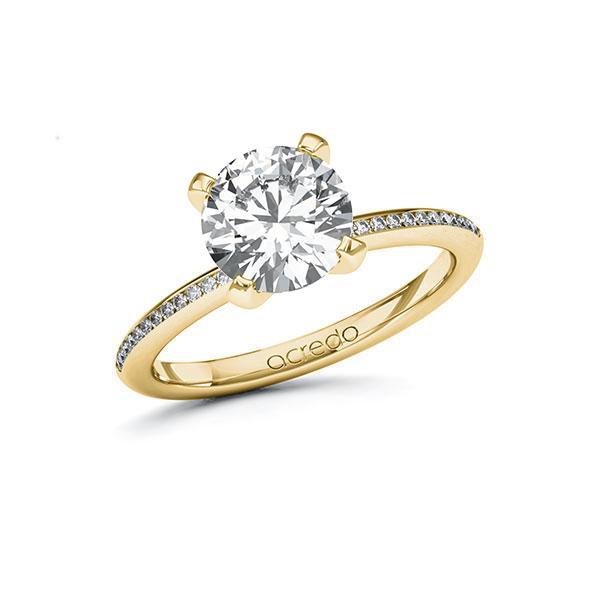 Verlobungsring Diamantring 2,13 ct. G SI & tw, si Gelbgold 585