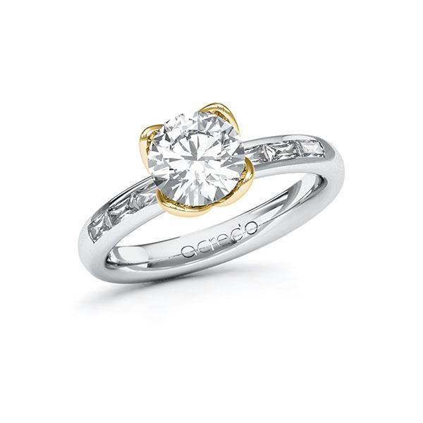 Verlobungsring Diamantring 1,8ct. G VS & Weißgold 585 Gelbgold 585