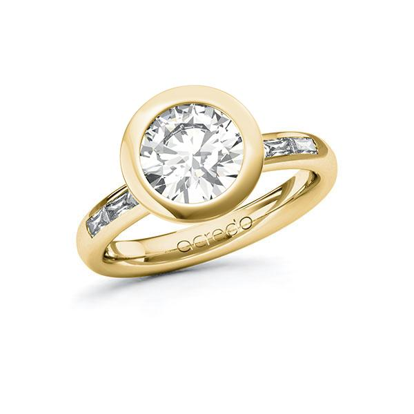 Verlobungsring Diamantring 2,3 ct. G VS & tw, vs Gelbgold 585