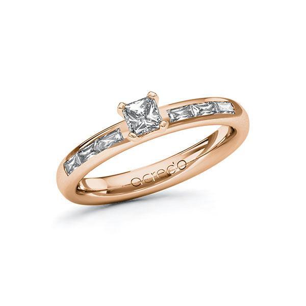 Verlobungsring Diamantring 0,6 ct. G VS & tw, vs Rotgold 585