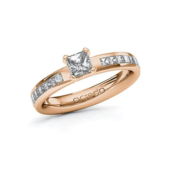 Verlobungsring Diamantring 0,98 ct. G VS & tw, si Rotgold 585