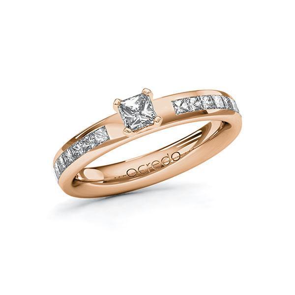 Verlobungsring Diamantring 0,78 ct. G VS & tw, si Rotgold 585