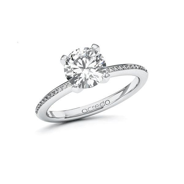 Verlobungsring Diamantring 1,63 ct. G SI & tw, si Weißgold 585