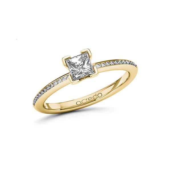 Verlobungsring Diamantring 0,63 ct. G VS & tw, si Gelbgold 585