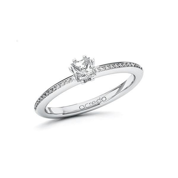 Verlobungsring Diamantring 0,43 ct. G VS & tw, si Weißgold 585
