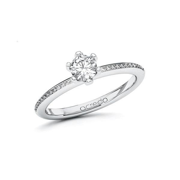 Verlobungsring Diamantring 0,53 ct. G VS & tw, si Weißgold 585