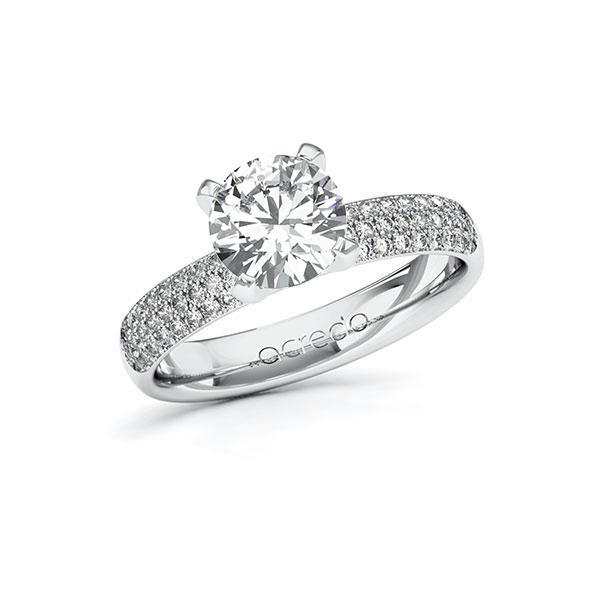Verlobungsring Diamantring 1,932 ct. G VS & tw, si Weißgold 585